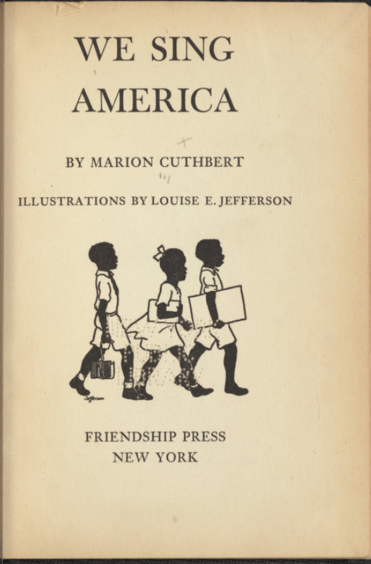 Book cover for We Sing America, by Marion Cuthbert