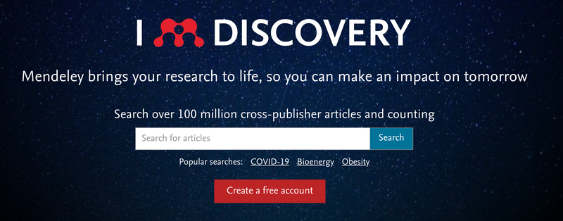 A screenshot from Mendeley's homepage including the search bar and