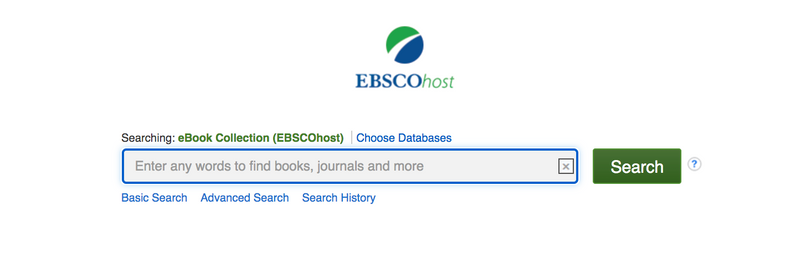 A screenshot of the search bar on the eBooks on Ebscohost homepage. The search bar appears under the green and blue Ebscohost logo.