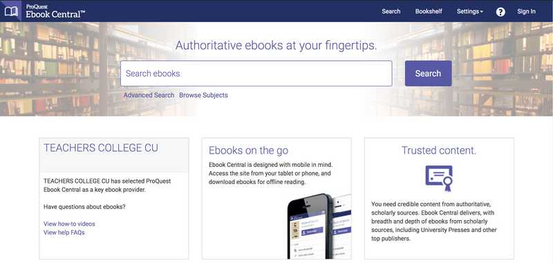 A screenshot of the homepage of Ebook Central, with its main search bar and links to other important features. The theme of the site is a cool purple with a white background.